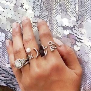 Love Pave Silver Tone Adjustable Ring
